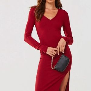 Forever 21 Ribbed Knit Slit Dress Burgundy